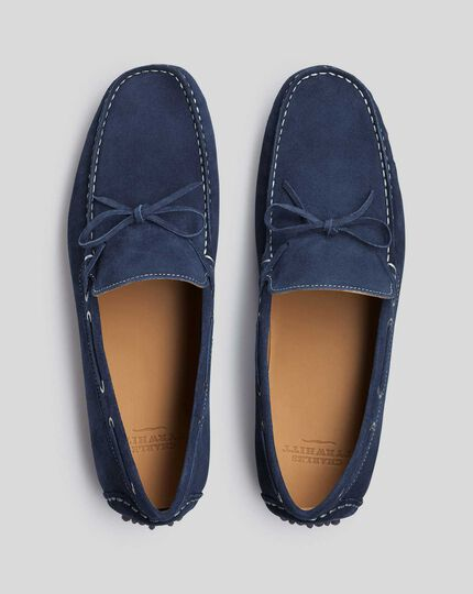 Dark blue suede slip on loafer made in England for Charles Tyrwhitt of London Unisex navy blue suede loafer w leather sole Preppy boho hip