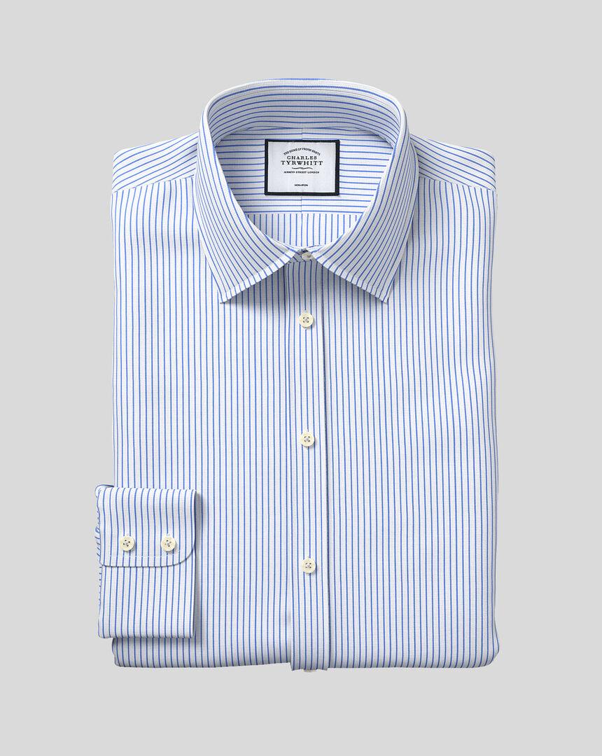 Classic Collar Non-Iron Dobby Stripe Shirt - Sky