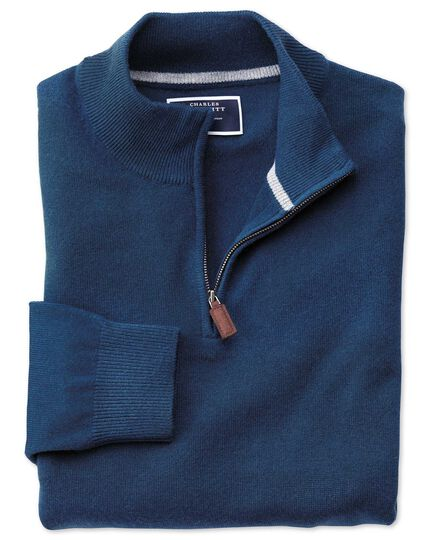 Blue zip neck cashmere sweater