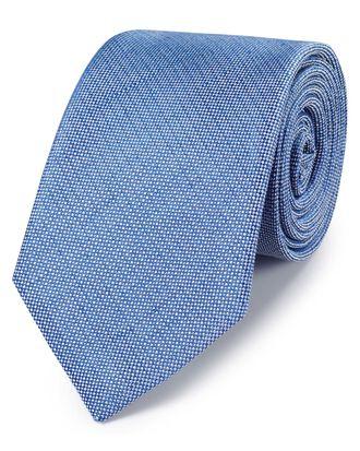 Blue linen silk plain classic tie