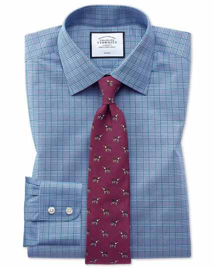 Non-Iron Prince Of Wales Check Shirt - Blue And Green