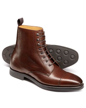 Brown Goodyear welted toe cap boots