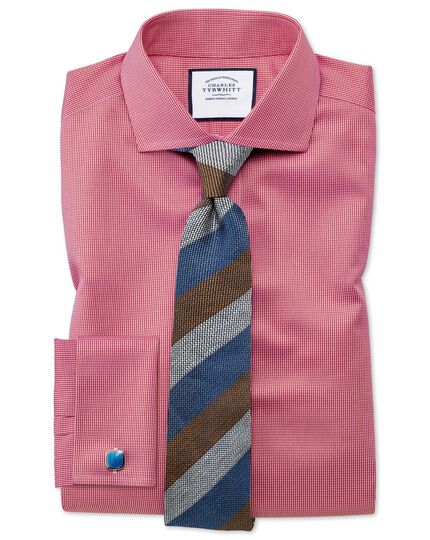 Slim fit cutaway collar non-iron puppytooth bright pink shirt
