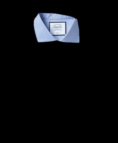 Extra slim fit cutaway non-iron herringbone sky blue shirt