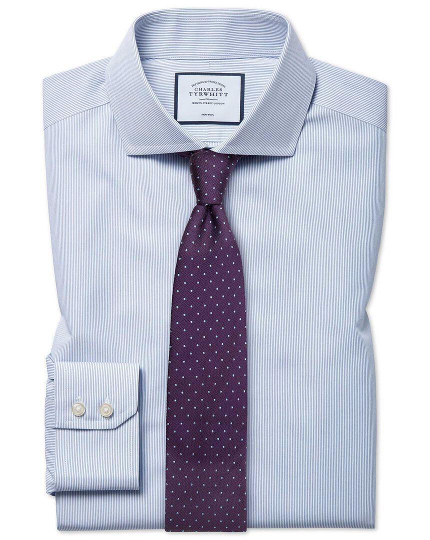 Non-Iron Cutaway Stripe Tyrwhitt Cool Shirt - Blue