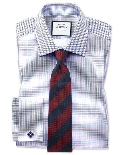 Red and blue silk block stripe classic tie
