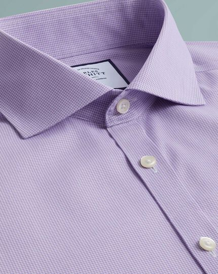 Extra slim fit non-iron 4-way stretch lilac check shirt