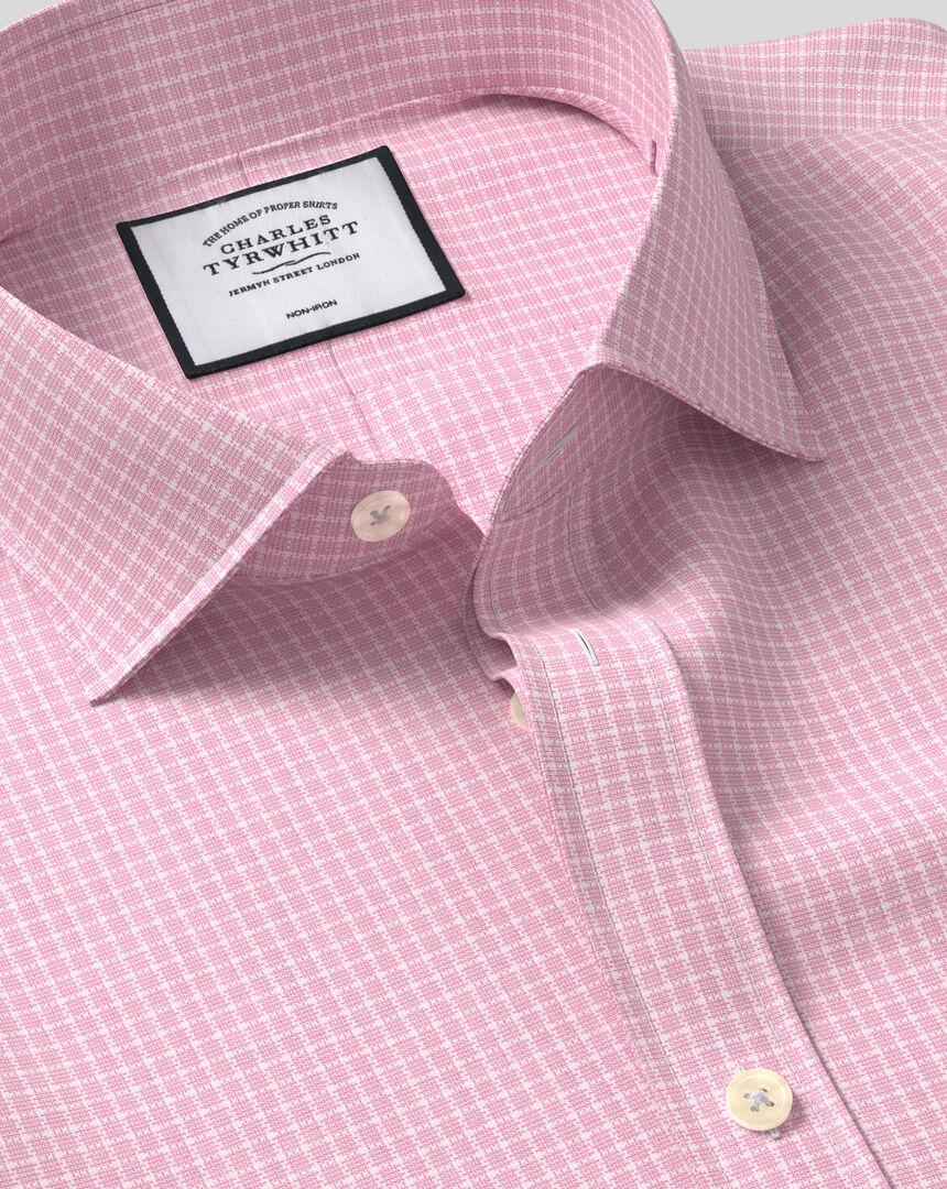 Cutaway Collar Non-Iron Cotton Stretch Check Shirt - Pink