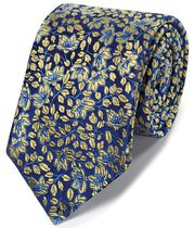 Gold silk floral English luxury tie