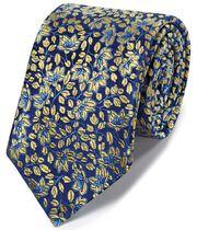 Gold silk floral English luxury tie