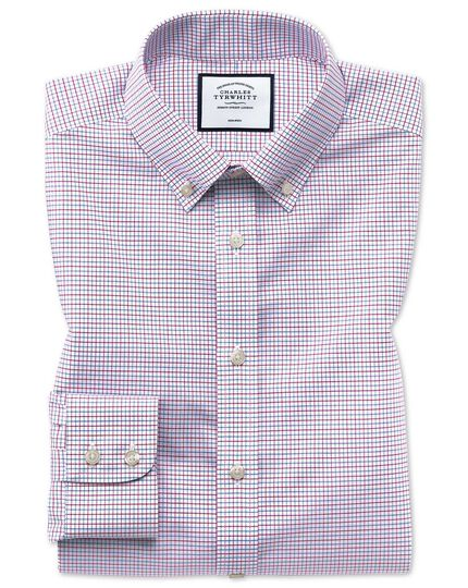 Classic fit non-iron button-down red and blue check shirt