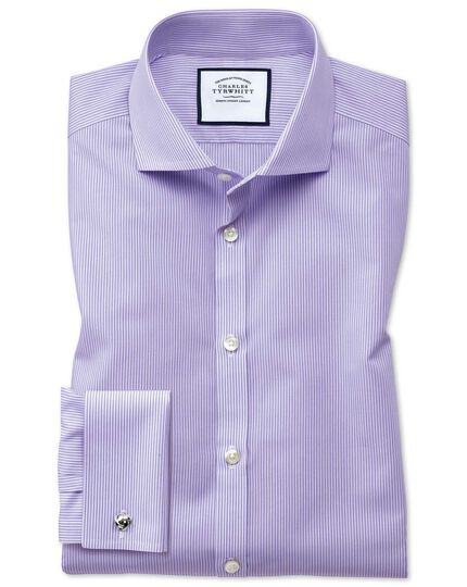 Extra slim fit spread collar non-iron bengal stripe lilac shirt