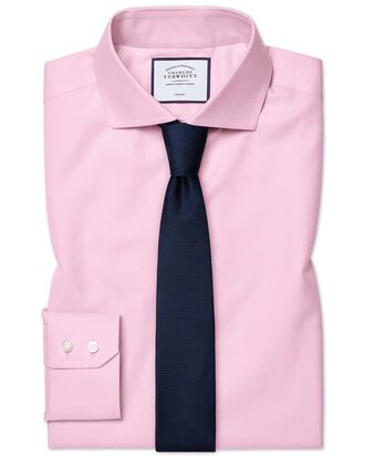 Extra slim fit spread collar non-iron twill pink shirt