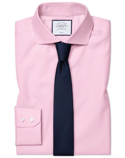 Extra slim fit pink non-iron twill shirt