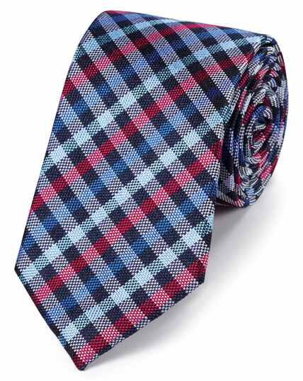 Navy and pink silk block check classic tie