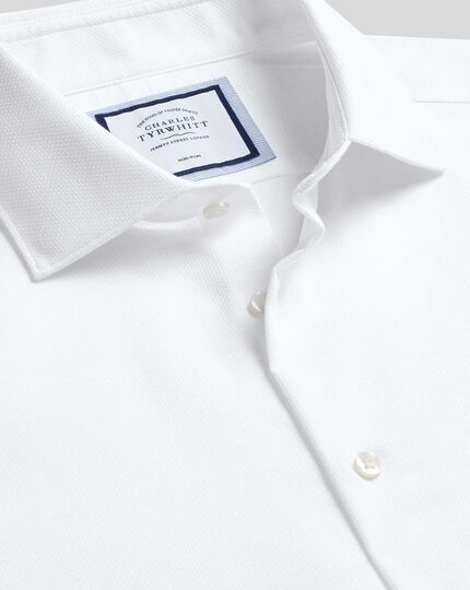 Business Casual Collar Non-Iron Cotton Stretch Shirt - White