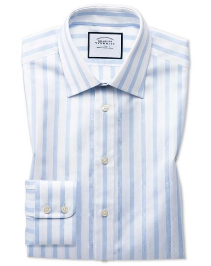 Chemise bleu ciel en oxford royal de coton égyptien extra slim fit à rayures