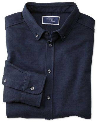 Navy Oxford jersey shirt
