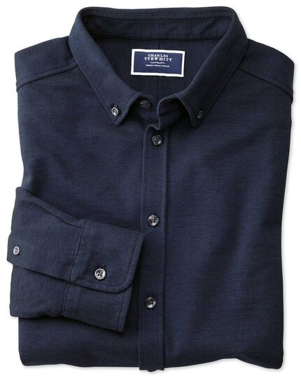 Jersey-Oxfordhemd in Marineblau