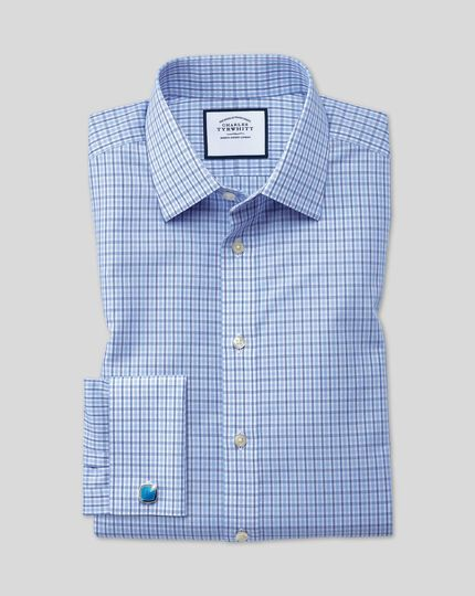 Slim fit non-iron blue and sky blue check shirt