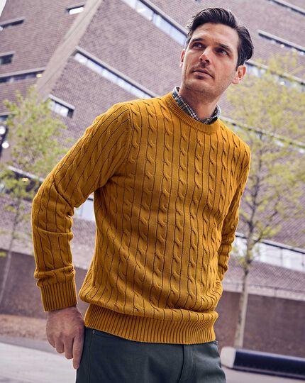Pullover aus Pima-Baumwolle mit Rundhals in Gelb