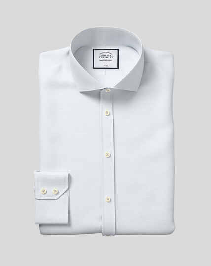 Cutaway Collar Non-Iron Cotton Slub Shirt - Light Blue