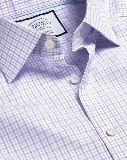 Semi-Spread Collar Egyptian Cotton Poplin Check Shirt - Lilac