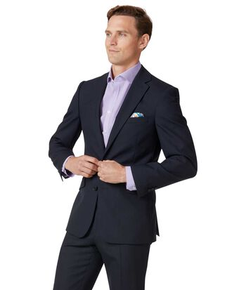 Veste de costume business bleu marine en laine mérinos slim fit
