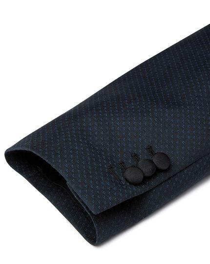 Teal jacquard slim fit shawl collar dinner suit jacket