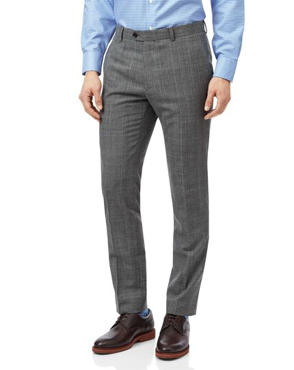 Grey with tan Prince of Wales check extra slim fit suit trouser