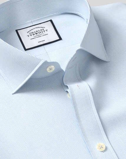 Spread Collar Non-Iron 4-Way Stretch Hairline Stripe Shirt - Sky