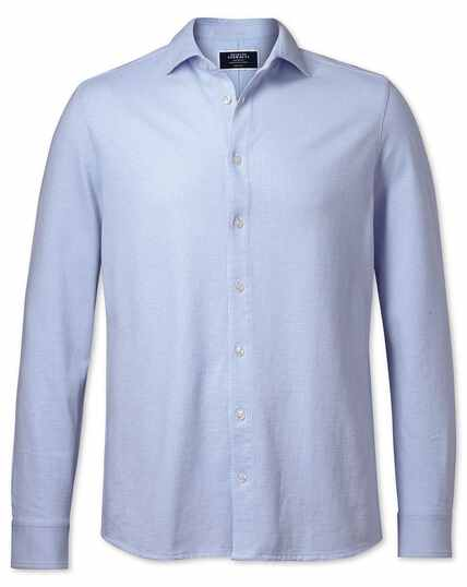 Sky blue puppytooth textured jersey shirt