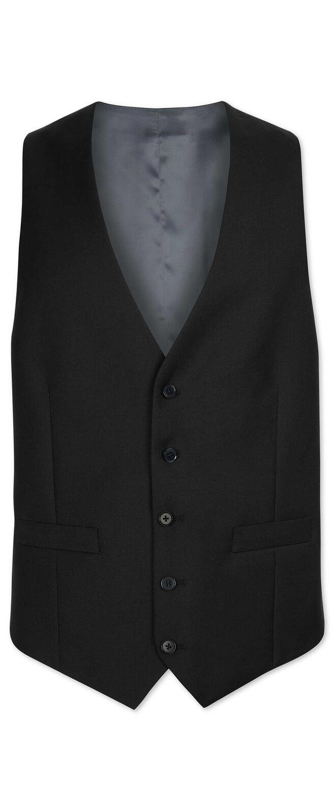 Black slim fit twill business suit