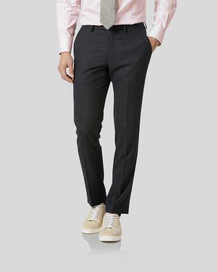 Birdseye Travel Suit Trousers - Charcoal