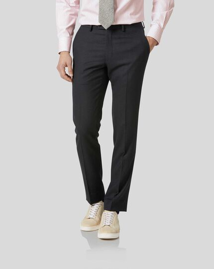 Birdseye Half Canvas Suit Pants - Charcoal
