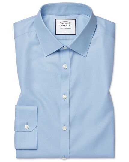 Super slim fit non-iron twill sky blue shirt
