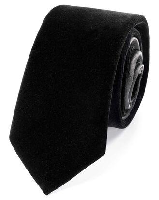 Cravate slim de luxe noire en velours