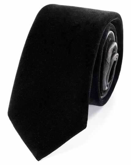 Black velvet luxury slim tie