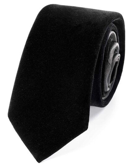 Black velvet luxury slim tie