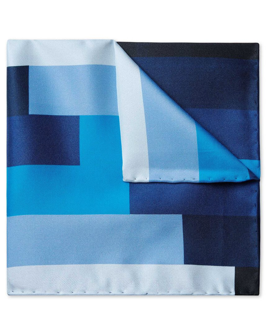 Blue multi stepped gradient print pocket square