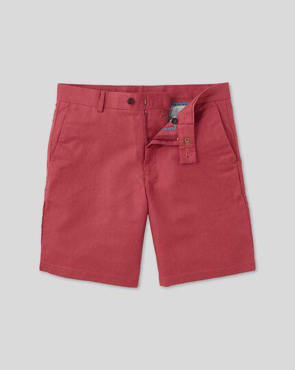 Shorts aus Baumwolle und Leinen - Rot