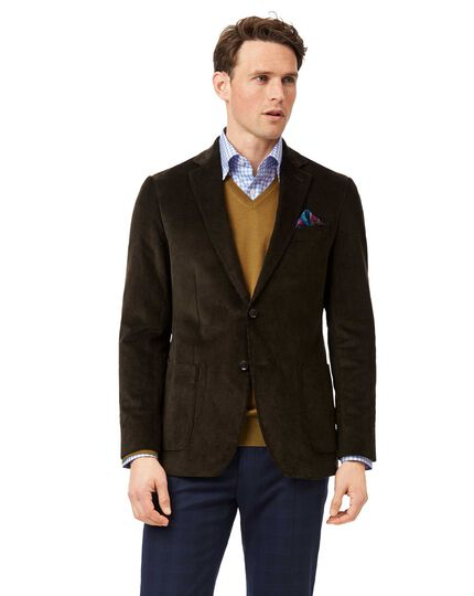 Slim fit dark green Italian corduroy jacket