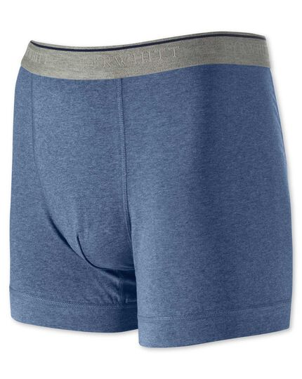 Blue cotton stretch jersey trunks