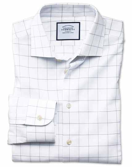 Slim fit business casual grey check soft cotton shirt