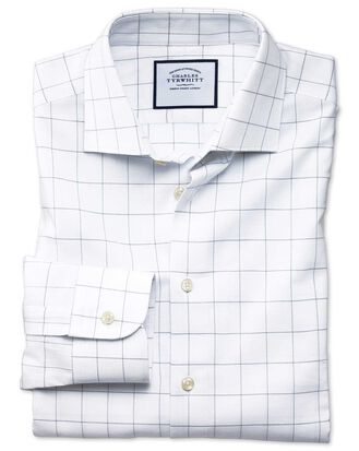 Extra slim fit business casual grey check soft cotton shirt
