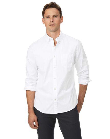 Vorgewaschenes Slim Fit Oxfordhemd mit Button-down Kragen in Weiß
