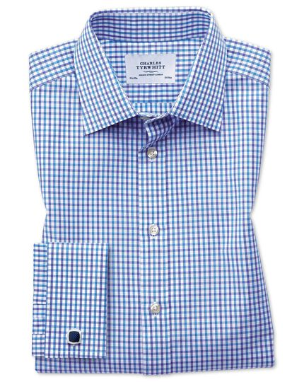 Classic fit two color check blue shirt