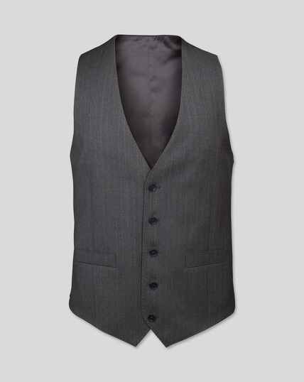 Stripe Birdseye Travel Suit Waistcoat - Grey