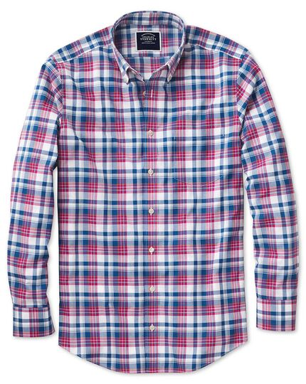 Slim fit poplin pink and navy  shirt