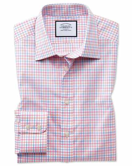 Egyptian Cotton Poplin Multi Check Shirt - Pink
